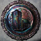 Fenton Christmas in America No 2 1971 Amethyst Carnival Plate Old Brick Church