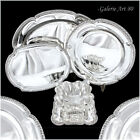 4pc Antique French Sterling Silver Louis XVI Sauce Boat, Tray, Platter Service