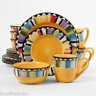 NEW GIBSON 16 pc FANDANGO DINNERWARE SET DISHWASHER/MICROWAVE SAFE VIBRANT COLOR