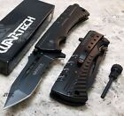 Wartech BLACK Spring Assisted FIRE STARTER Tanto Folding Pocket Knife - JT189