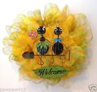 YELLOW DECO MESH WREATH SPRING SUMMER ANTS METAL WELCOME SIGN DOOR DECORATION