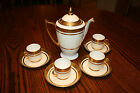 VINTAGE MINTON COFFEE / TEA POT, 4 CUPS & SAUCERS, GOLD GUILT, BONE CHINA H4050