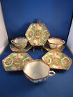 Antique Hexagon Rose Medallion 8pc 5 Saucers 3 Teacups Lot Marked China