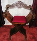 Vintage Carved Lion's Head Claw Feet Italian Savonarola Italy Folding Chair