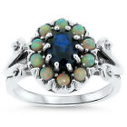 BLUE LAB SAPPHIRE  OPAL ANTIQUE DESIGN 925 STERLING SILVER RING   311