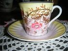 Lovely Teacup Set Beautiful YELLOW/PINK PASTELS with GOLD LEAVES