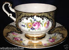PARAGON F68H FOOTED CUP & SAUCER 8 OZ GOLD SCROLLS GOLD TRIM YELLOW & RED ROSES