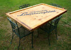 VINTAGE WROUGHT IRON TABLE/4 CHAIRS CUSTOM REPURPOSED LAMBORGHINI CRATE TOP