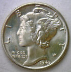 1943 Silver Mercury Dime Winged Head Uncirculated US Ten Cent Coin from Roll #R