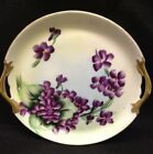 Antique Vienna Austria Plate - Hand Painted Violets With Gold Handles - Signed