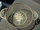 Vintage SILVER gold BREAD BASKET - Round Wire Bread or Fruit Bowl or Dish