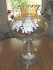 3 Way Peach Luster White Roses Glass Gone With The Wind Hurricane Lamp 205 A