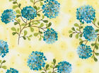 FABRIC 1YD REFLECTIONS 22668-YELLOW BLUE SEED SPRAYS Gudrun Erla Red Rooster