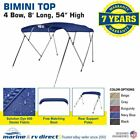 Bimini Top Boat Cover 4 Bow 54 H 67 72 W 8 ft Long Solution Dye Navy Blue