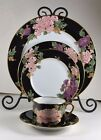 Fitz & Floyd Originals - 5 Piece Place Setting(s) - Cloisonne Peony - Black