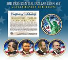 2011 US MINT COLORIZED PRESIDENTIAL 1 DOLLAR COINS  COMPLETE SET OF 4