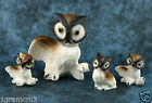 Vintage Miniature Bone China Set of 4 Owl Family Figurines Hi Style Bridge Japan