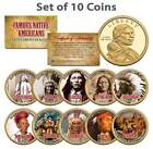 FAMOUS NATIVE AMERICANS Sacagawea US 1 Dollar 10 Coin COMPLETE SET Indians