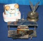 VINTAGE LOT OF 3 ANIMATED SANKYO MUSIC BOXES. COPPER, BRASS & CERAMIC MUSIC BOX