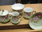 5 Pc. Hand Painted Lefton China Sugar Creamer Bowl Cup Saucer Roses Gilt Trim