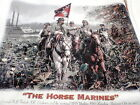 CIVIL WAR SOLDIERS HORSE MARINES QUILT SQUARES PILLOW FABRIC PANELS 14X14