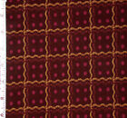 FABRIC 1 Yard MATTERS OF THE HEART Reproduction Brown Squares Kaye England SSI