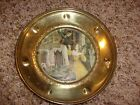 ANTIQUE SOLID BRASS  ENGLAND  PLATE WITH FOIL PICTURE FOR WALL DECOR