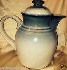 NORITAKE STONEWARE SORCERER TEA COFFEE POT & LID 56 OZ BLUE BANDS BROWN ACCENTS