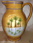 CLAY ART HAND PAINTED MIRAGE PALM PITCHER 96 OZ PALM TREES & REFLECTION