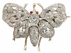 Victorian 2.62 Ct Diamond and 0.04 Ct Ruby, 15 k Yellow Gold Butterfly Brooch