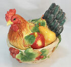 FITZ & FLOYD COUNTRY GOURMET HEN COVERED VEGETABLE SERVER CANISTER CERAMIC LNC