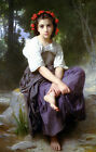 """handpainted oil painting on canvas""""girl on a stone with flowers on head"""