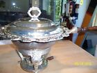 VINTAGE ANTIQUE SILVER CHAFING DISH LARGE WOODEN HANDLE EXCELL COND ELEGANT L@@K