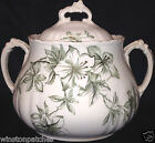 JOHN EDWARDS AZALEA SMALL TUREEN & LID GREEN FLOWERS LEAVES WITH GOLD ACCENTS