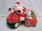 Fitz and Floyd Vintage Santa Motorcycle Cookie Jar with Box