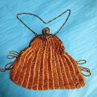 Antique 1920s Art Deco Gold Beaded Evening Chain Bag. Some Damage. See photos.