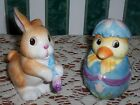 Fitz and Floyd Painting Easter Eggs Salt Pepper Chick and Bunny Pastels NIB Nice