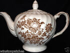 ROYAL CROWNFORD CHARLOTTE BROWN TEAPOT & LID 36 OZ BROWN FLOWERS BROWN TRIM