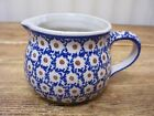 Boleslawiec Poland Creamer Pitcher Blue Brown Dots