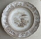 Antique Brown Transfer Soup Plate Canova Stoneware Cabinet Piece