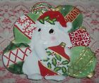 Fitz and Floyd Christmas Bunny Blooms Canape Plate Beautiful Holiday Colors NIB