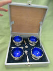 Antique Corbell Cobalt Blue Glass Silver Lion Open Salt Celler Dip spoon box set