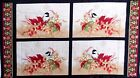 A Colorful Season Quilt Fabric Panel OOP 100% Cotton Autumn Leaves Birds