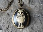 SPOOKY BARN OWL CAMEO LOCKET (hand painted) -ANTIQUE BRONZE, VINTAGE LOOK