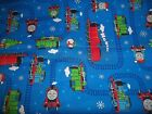 THOMAS THE TANK ENGINE & FRIENDS train Christmas snow Cotton Quilt FABRIC 1 yd