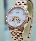 Rotary Ladies Swiss Watch Rose Gold Automatic Skeleton Swarovski Crystals Boxed