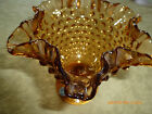 Vintage Hand Crafted Imperial  Amber Glass Candy Dish Footed Ruffled Edges Dots