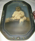 ANTIQUE AMERICAN HARD WOOD  CONVEX BUBBLE ART GLASS PICTURE FRAME w BABY PHOTO