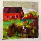 RED Barn FARM Landscape ORIGINAL Painting JMW art John Williams Impressionism