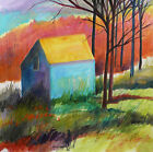 ORIGINAL Barn LANDSCAPE Watercolor Painting  JMW art John Williams Expressionism